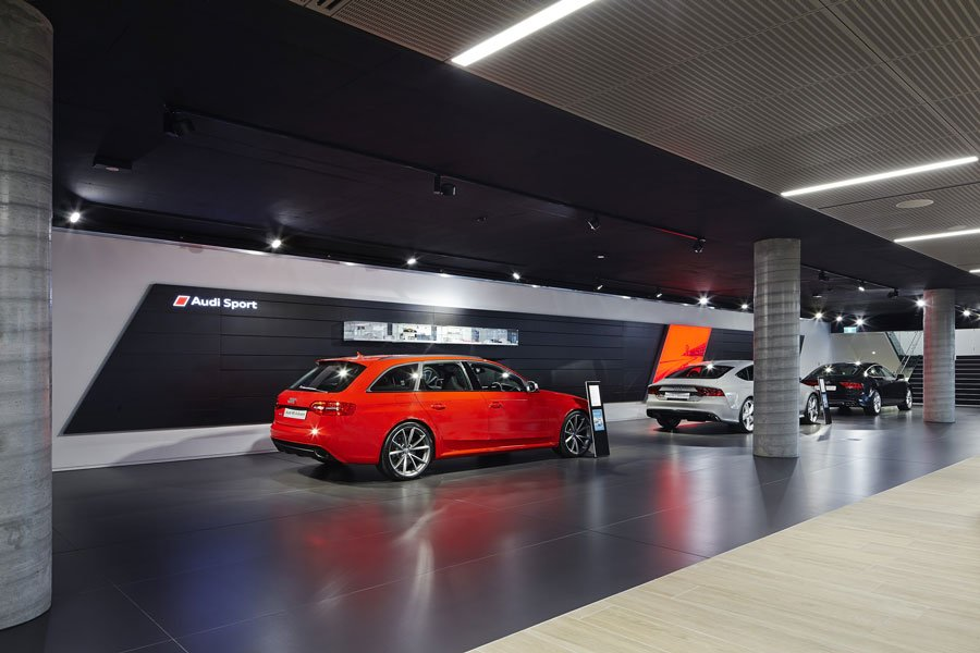 Track lights at Audi Melbourne Showroom